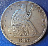 1860 SEATED LIBERTY HALF DOLLAR EXTRA FINE XF US COIN 10609