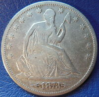 1873 S SEATED LIBERTY HALF DOLLAR FINE F US COIN 10253