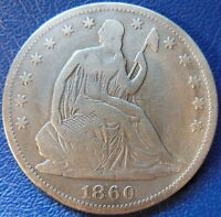 1860 SEATED LIBERTY HALF DOLLAR FINE VF US COIN CLEANED 10244