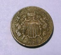 HISTORIC  CIVIL WAR ERA 1869 2 CENT COIN, TO FIND,GOOD SHAPE,  TO FIND