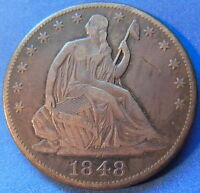 1848 O SEATED LIBERTY HALF DOLLAR FINE TO EXTRA FINE TONED US COIN 4939