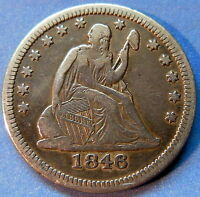 1846 SEATED LIBERTY QUARTER EXTRA FINE XF BETTER DATE US COIN 5824