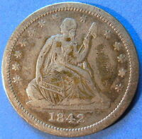 1842 O SEATED LIBERTY QUARTER FINE TO EXTRA FINE CLEANED 4095