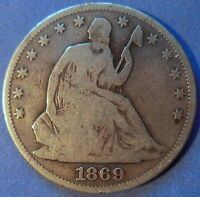1869 SEATED LIBERTY HALF DOLLAR GOOD TO FINE US 50C COIN 5908