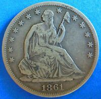 1861 S CIVIL WAR ERA SEATED LIBERTY HALF DOLLAR / EXTRA FINE 2815