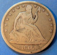 1865 S SEATED LIBERTY HALF DOLLAR FINE BETTER DATE US COIN 5180
