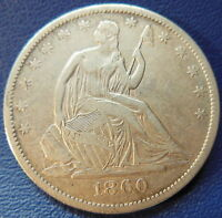 1860 O SEATED LIBERTY HALF DOLLAR EXTRA FINE XF NEW ORLEANS MINT US COIN 7630