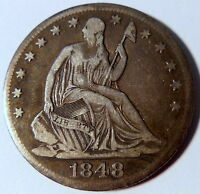 1848 O SEATED LIBERTY HALF DOLLAR FINE TO EXTRA FINE BETTER DATE US 10151