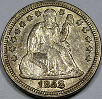 1852 SEATED LIBERTY DIME  FLASHY UNC. COIN ORIGINAL WITH  SURFACES