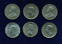 CANADA  5 CENTS COINS: 1934 2 1941 1945 1949 & 1962 GROUP LOT OF 6