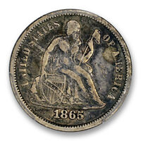 1865 10C LIBERTY SEATED DIME PCGS VF 25 CAC APPROVED FINE KEY DATE