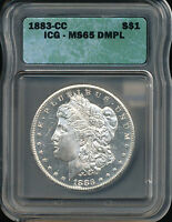 1883 CC MORGAN SILVER DOLLAR COIN ICG MS 65 DMPL SUPERB INVESTMENT SMD1631