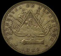 1880 NICARAGUA 20 CENTAVOSVERY SHARP ORIGINAL TYPE COIN W/ LOTS OF APPEAL!