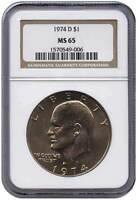 1974 D $1 EISENHOWER DOLLAR MS 65 NGC