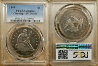 1845 PCGS AU DETAILS CLEANED SEATED DOLLAR   BETTER DATE