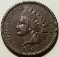 1908 S UNITED STATES OF AMERICA INDIAN HEAD CENT PENNY   XF