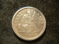 1838 VF XF  SEATED LIBERTY QUARTER NICE LOOKING COIN OHZ