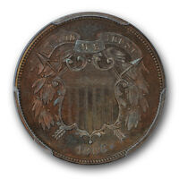 1866 TWO CENT PIECE PCGS PR 64 BN PROOF TONED COIN