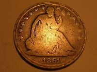 1861 S SEATED LIBERTY HALF DOLLAR R & ATTRACTIVE