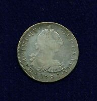PERU SPANISH COLONIAL CHARLES IV  1790 LIMA IJ  8 REALES SILVER COIN VF