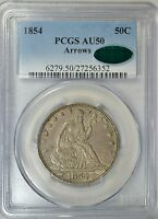 1854 SEATED HALF DOLLAR WITH ARROWS PCGS AU50 CAC