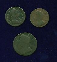 G.B./U.K./ENGLAND  1734 & 1773 FARTHING & 1736 HALF PENNY COPPER COIN LOT OF 3