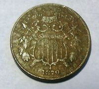 HISTORIC  CIVIL WAR ERA 1870 2 CENT COIN, TO FIND,GOOD SHAPE,  TO FIND
