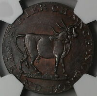 1790S NGC MS 62 TOUCAN/2 HEADED COW PIDCOCKS 1/2 PENNY MIDDLESEX DH 454 14120104
