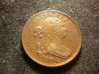 1804 AU BU DETAILS DRAPED BUST HALF CENT FULL DEVICES NICE GLOSSY LOOK PK