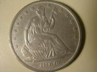 1860 O SILVER SEATED DOLLAR VF  XF