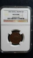 1864 P SMALL MOTTO TWO 2 CENT PIECE NGC AU55 BN 2C COIN CENTS