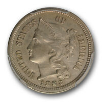 1883 3CN THREE CENT NICKEL PCGS AU ABOUT UNCIRCULATED DETAILS KEY DATE COIN