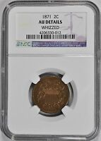 1871-P TWO 2 CENT PIECE NGC AU-DETAILS  ABOUT UNCIRCULATED-DETAILS 2C COIN