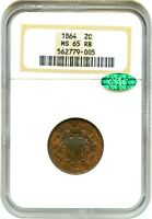1864 2C NGC/CAC MINT STATE 65 RB LARGE MOTTO GREAT TYPE COIN - 2-CENT PIECE