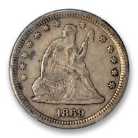 1869 S 25C LIBERTY SEATED QUARTER PCGS VF 35 KEY DATE