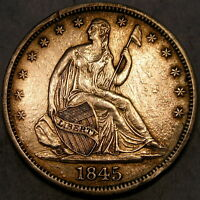 1845/1845 LIBERTY SEATED HALF DOLLAR  RE PUNCHED DATE WB 108 FS 303 VP 003