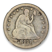 1854 O HUGE O SEATED LIBERTY QUARTER 25C NGC VG 8 GOOD