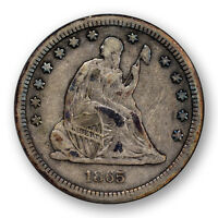 1865 S LIBERTY SEATED QUARTER ANACS VF 20 FINE KEY DATE