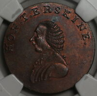 1790S NGC MS 63 ERSKINE RIGHTS OF MAN CONDOR 1/2 PENNY MIDDLESEX SOCIAL DH1010