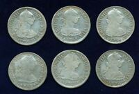 MEXICO SPANISH COLONIAL 2 REALES COINS 1774 1783 6