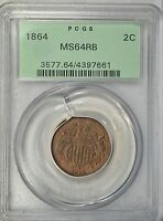 1864  2 CENT,  PCGS MINT STATE 64 RB