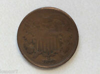 1870 2 CENTS COPPER U.S. COIN D9659