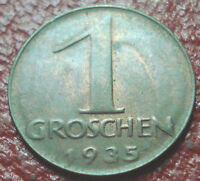 1935 AUSTRIA 1 GROSCHEN IN EF AU CONDITION