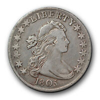 1805 50C DRAPED BUST HALF DOLLAR  FINE TO EXTRA FINE US TYPE COIN R6