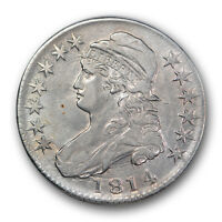 1814 50C CAPPED BUST HALF DOLLAR ABOUT UNCIRCUALTED AU BETTER DATE TOUGH R18