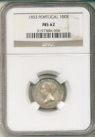 PORTUGAL 1853 SILVER 100 REIS  KM488  NGC MS 62  1 YEAR TYPE 66 000 MINTAGE