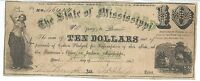 STATE MISSISSIPPI JACKSON $10 BANK NOTE 1862 CR17 GREEN X PLOW WHEAT 46424