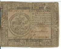 1776 CONTINENTAL CURRENCY $5 SPANISH DOLLARS  CC50  36052