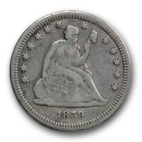 1859 S 25C LIBERTY SEATED QUARTER FINE VF DETAILS R235