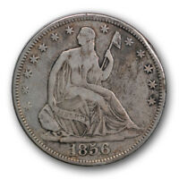 1856 S 50C LIBERTY SEATED HALF DOLLAR FINE TO EXTRA FINE R318